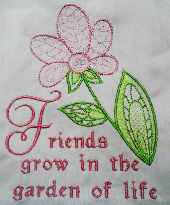 Machine Embroidery Henna Flower Friends