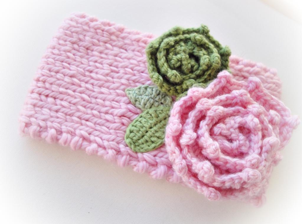 Happy Knitted Headband and Crochet Flower