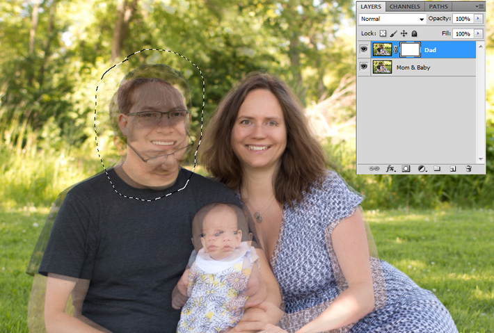 head swapping in process in Adobe Photoshop showing both heads at once