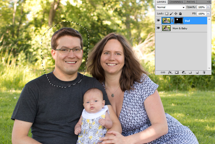 Alternate photograph in Photoshop with head selected for swapping