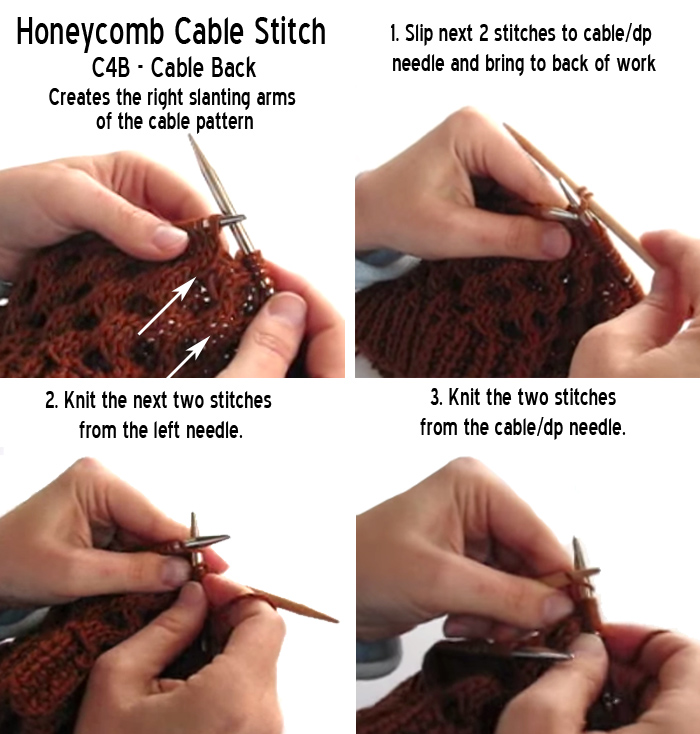 Honeycomb Cable Knitting Stitch Cable Back C4B