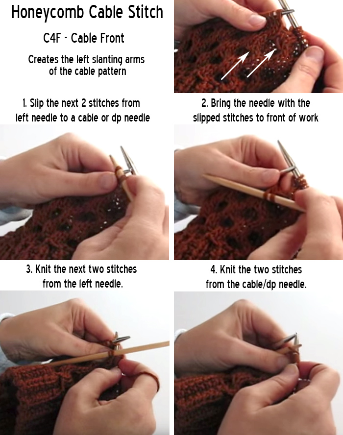Honeycomb Cable Stitch C4F Cable Front Tutorial
