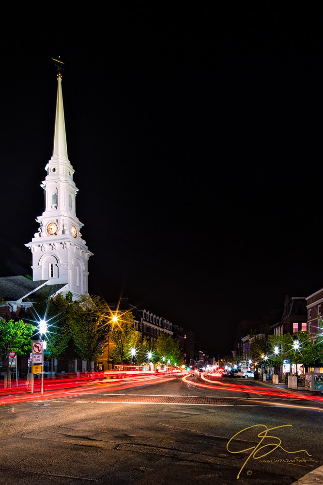 Light trails create an interesting element in this night time photo of Market Square.