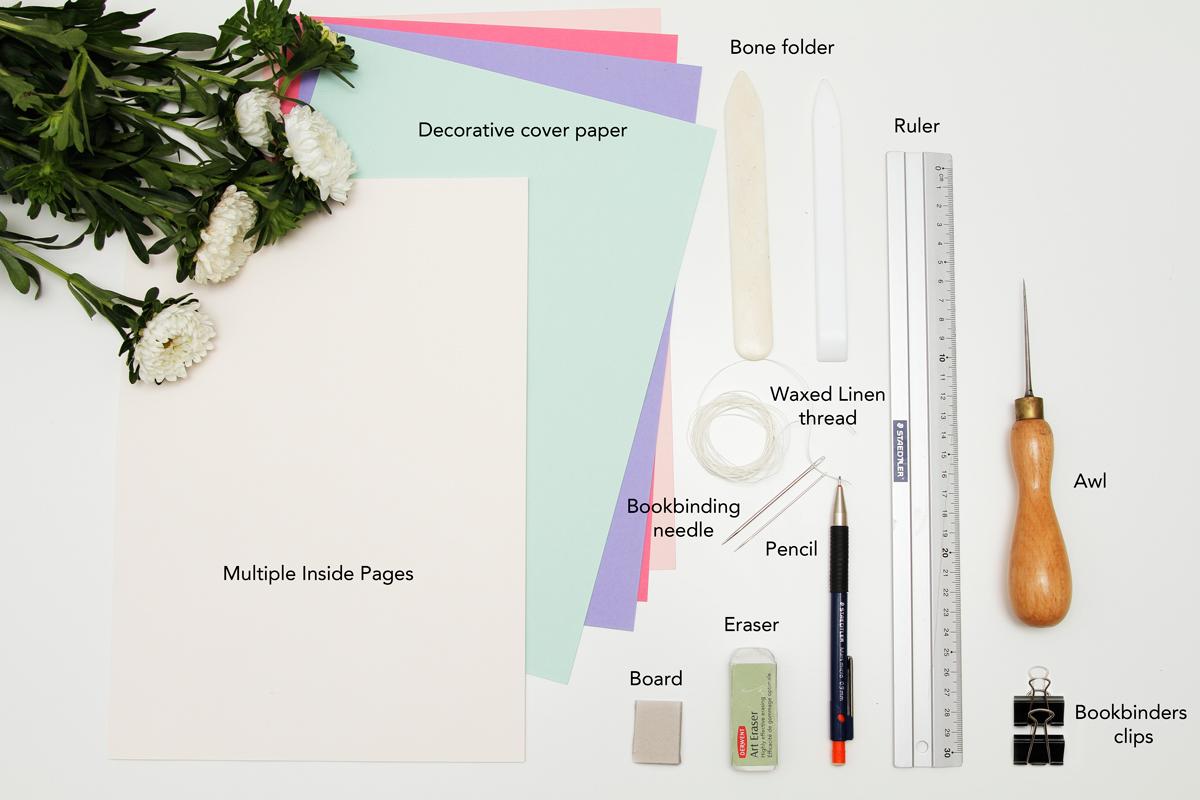 materials bookbinding sketchbook saddlestitch