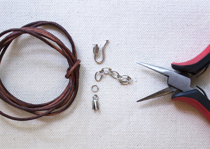 materials for DIY leather wrap bracelet