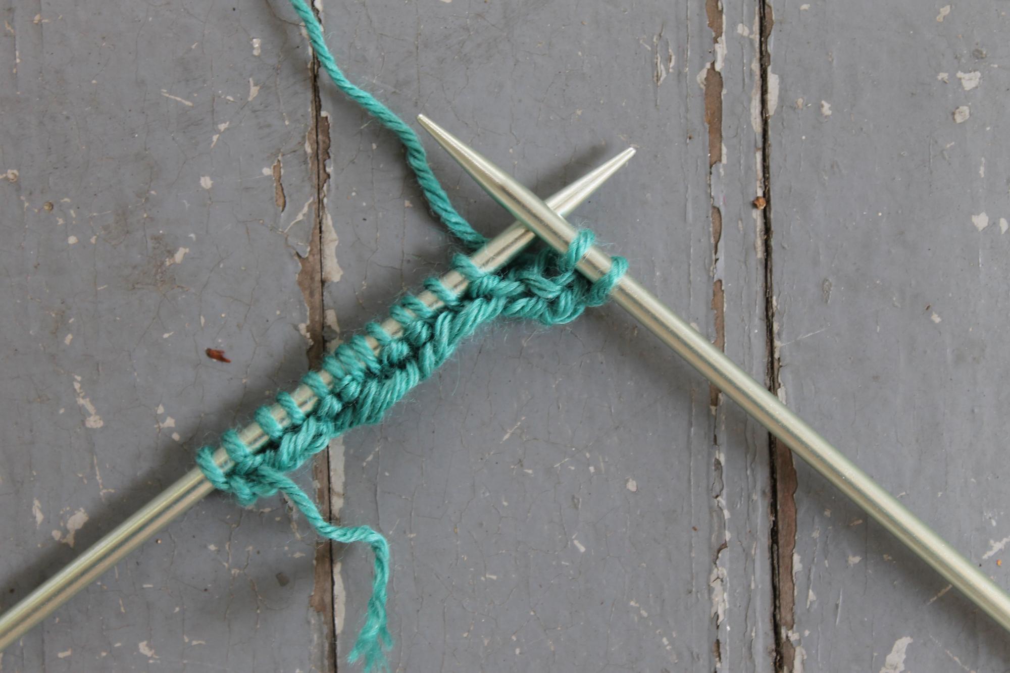 Knitting Row 2 of mistake rib stitch