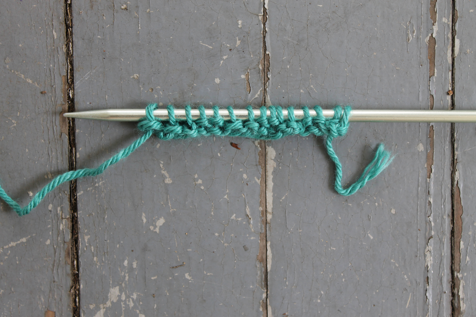 First completed row of the mistake rib stitch