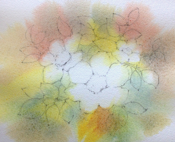 Negative watercolor painting - step 2