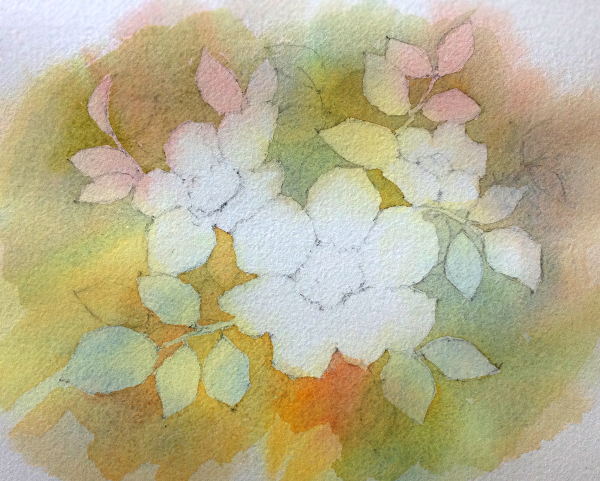 Negative watercolor painting - step 3