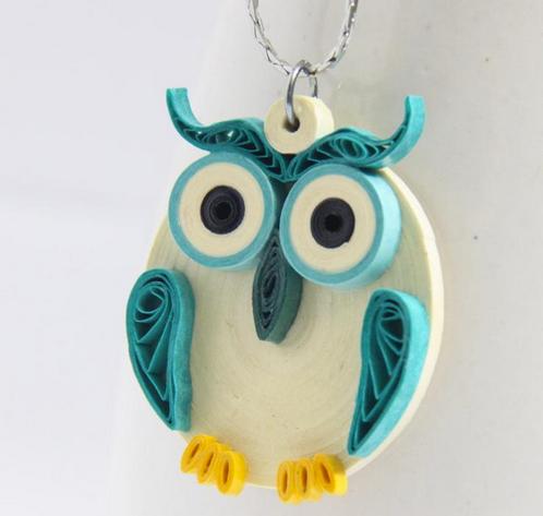 quilled owl pendant