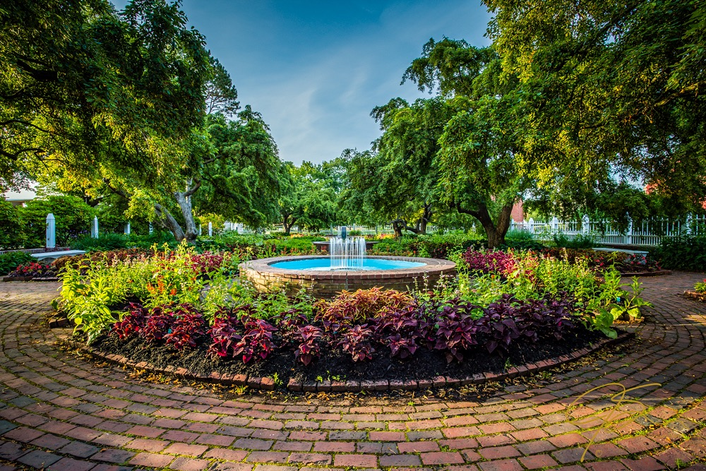 Wide angle view of the beautiful gardens in Prescott Park, Portsmouth, NH