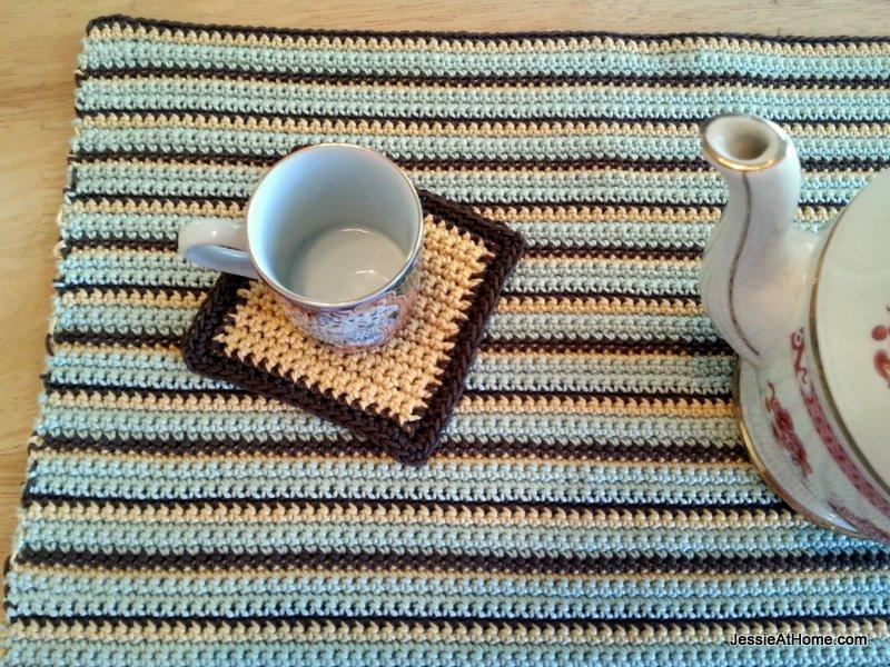 single crochet coaster and placemat