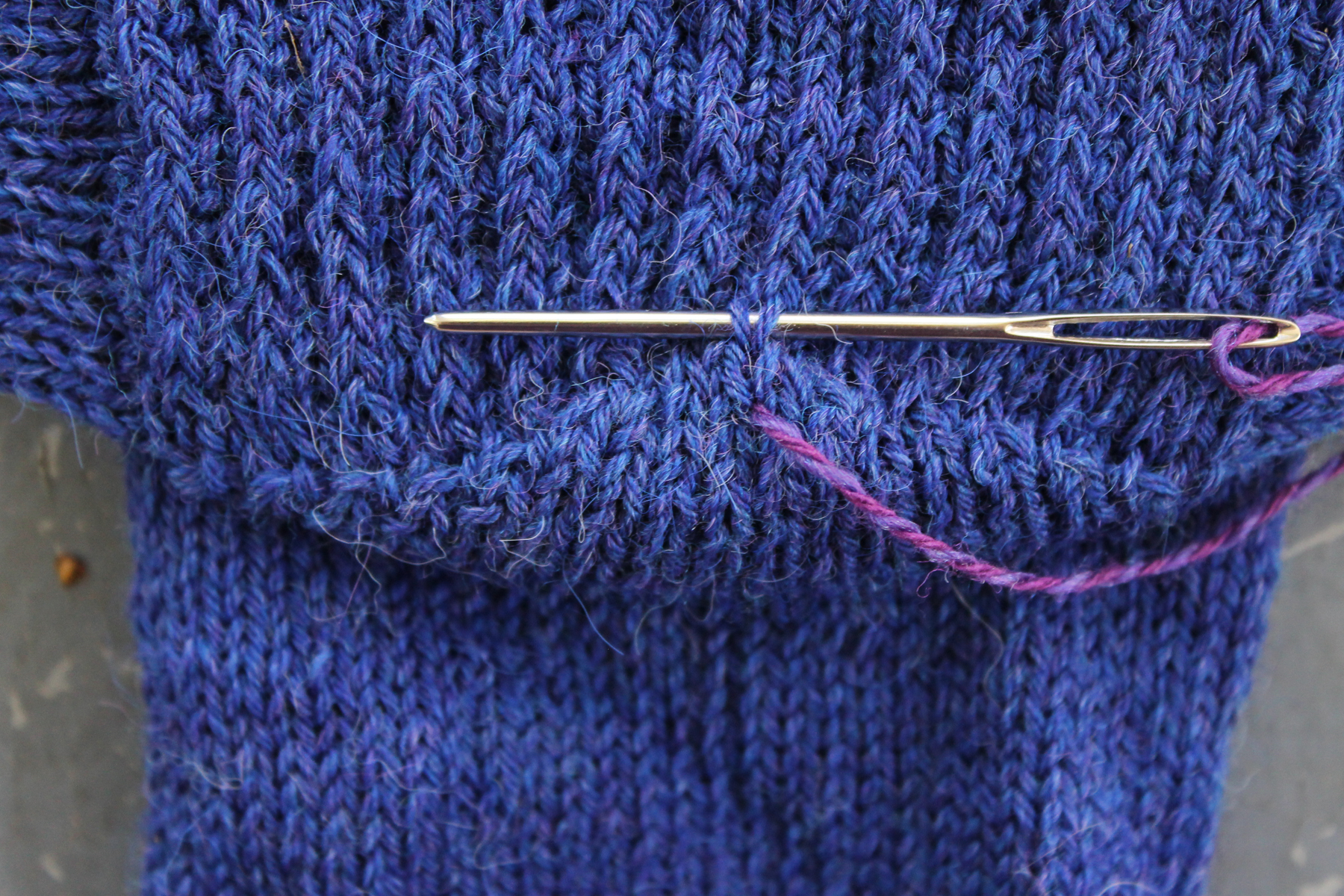 Adding duplicate stitch to a sock heel