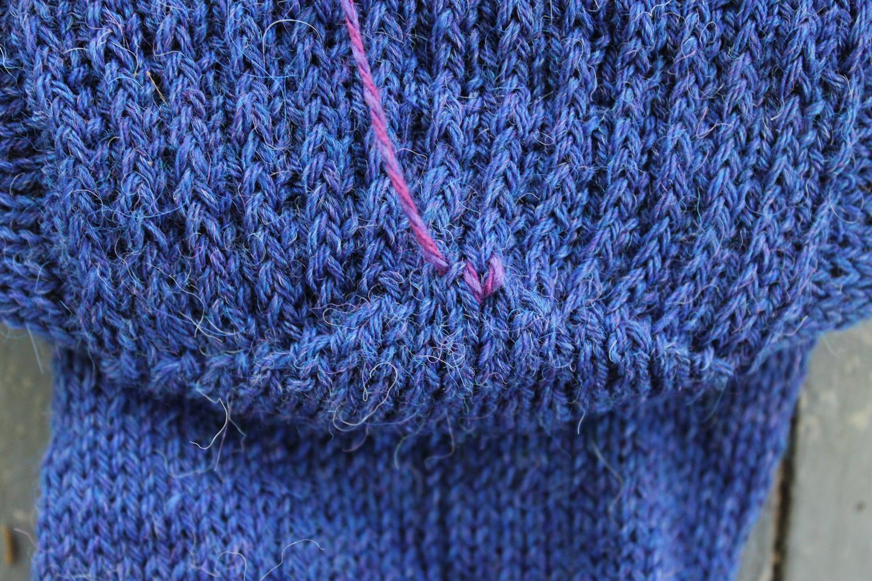 First duplicate stitch on sock heel