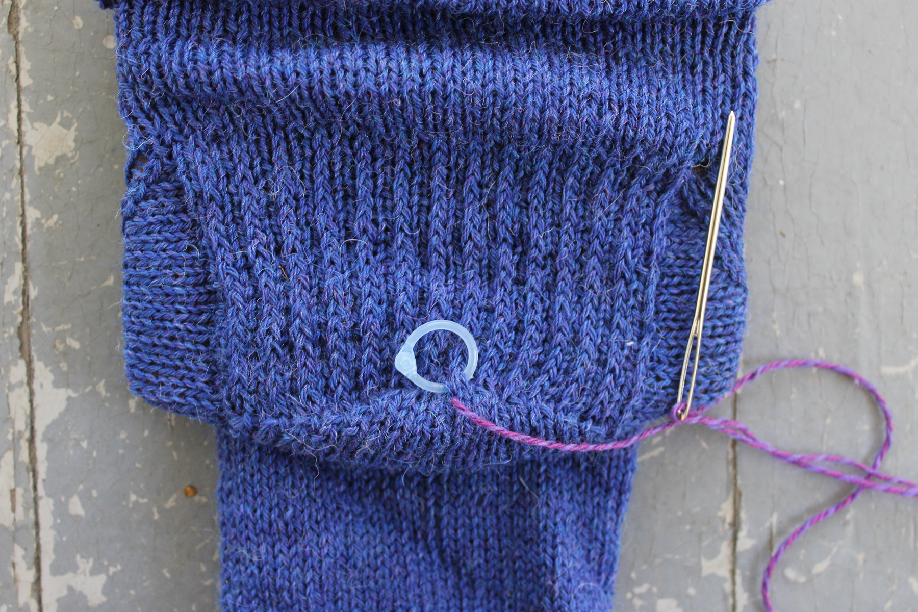 Starting duplicate stitch on a sock heel