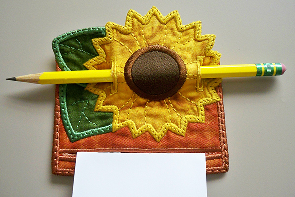 sunflower memo magnet made in the hoop