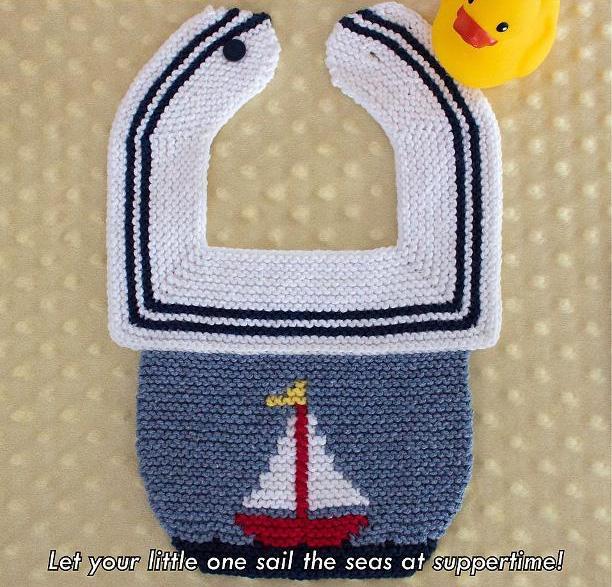 Sweet Sails Baby Bib Knitting Pattern