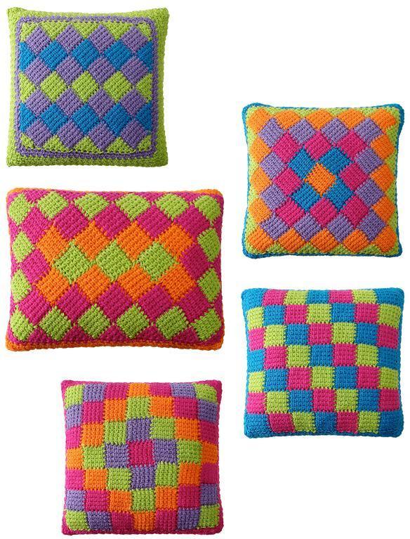 tunisian entrelac crochet pillows