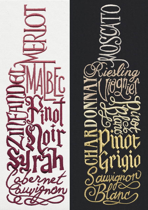 Red wine and white wine bottle word art