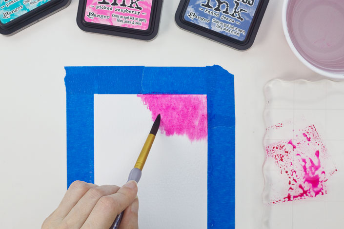 Watercoloring with Distress Ink