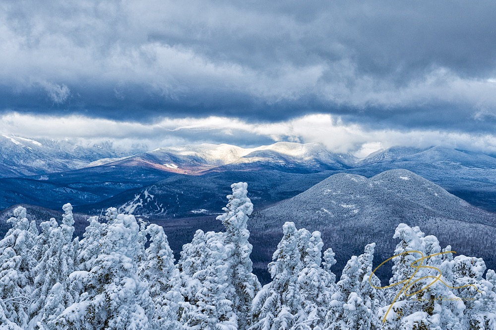 Snow-covered evergreens in the foreground and snow-capped peaks in the distance.