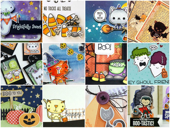 Halloween card and tag collage