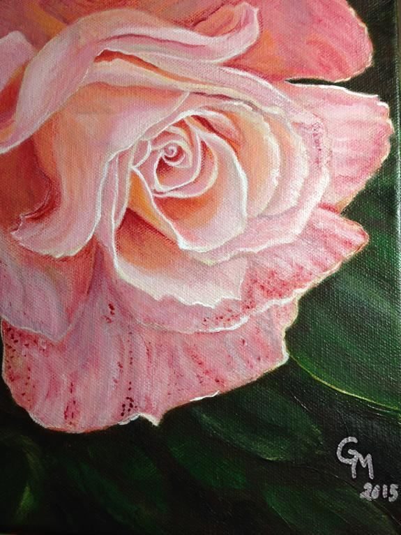 Rose painting on canvas