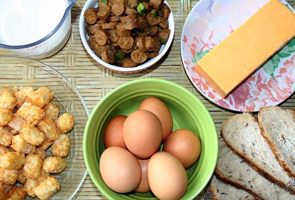 Ingredients for slow cooker breakfast casserole