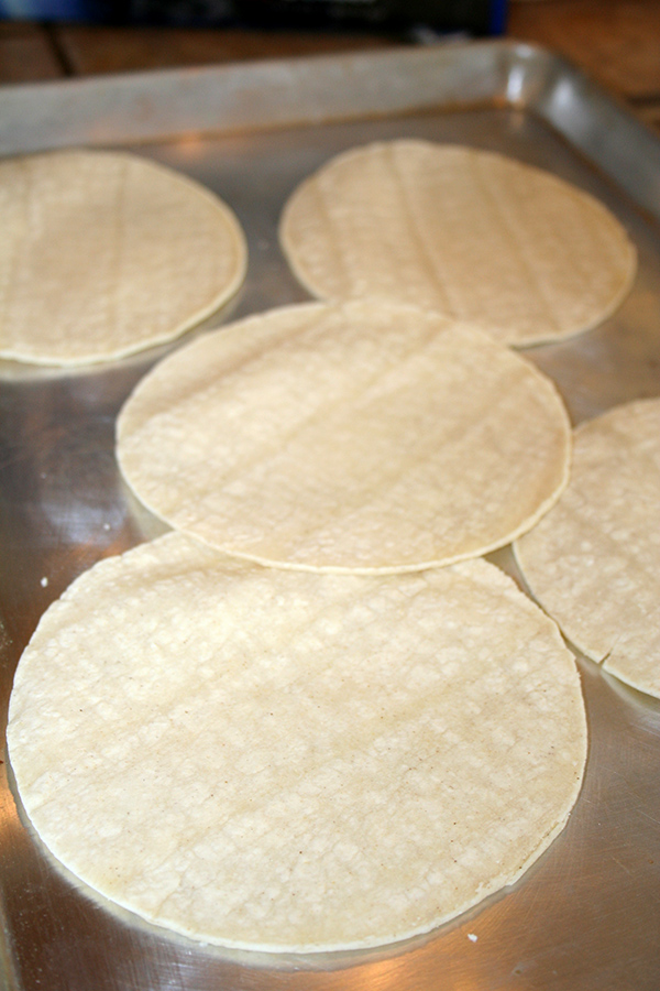 Tortillas ready for baking