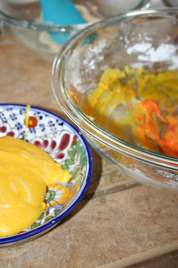 Tinting candy corn dough