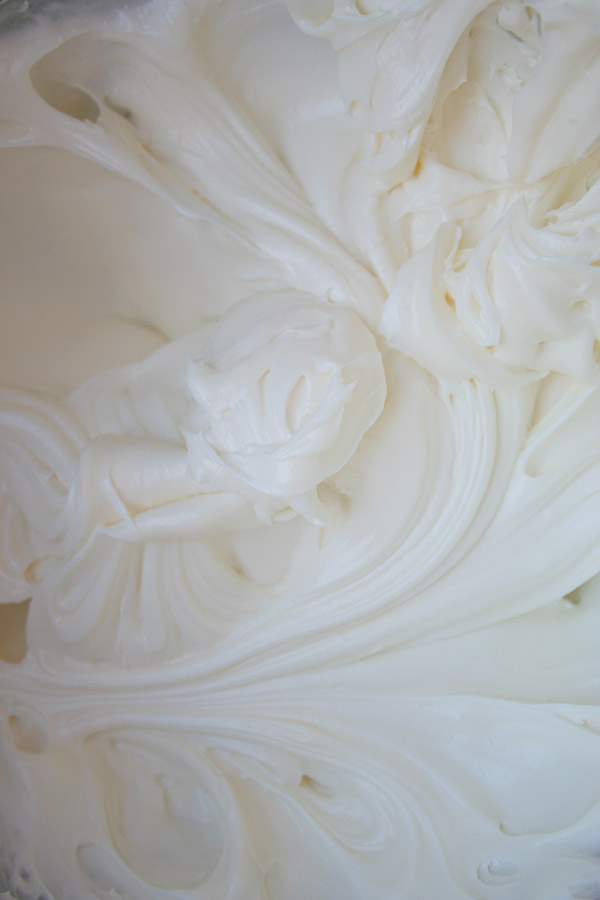 Close-up shot of cream cheese frosting