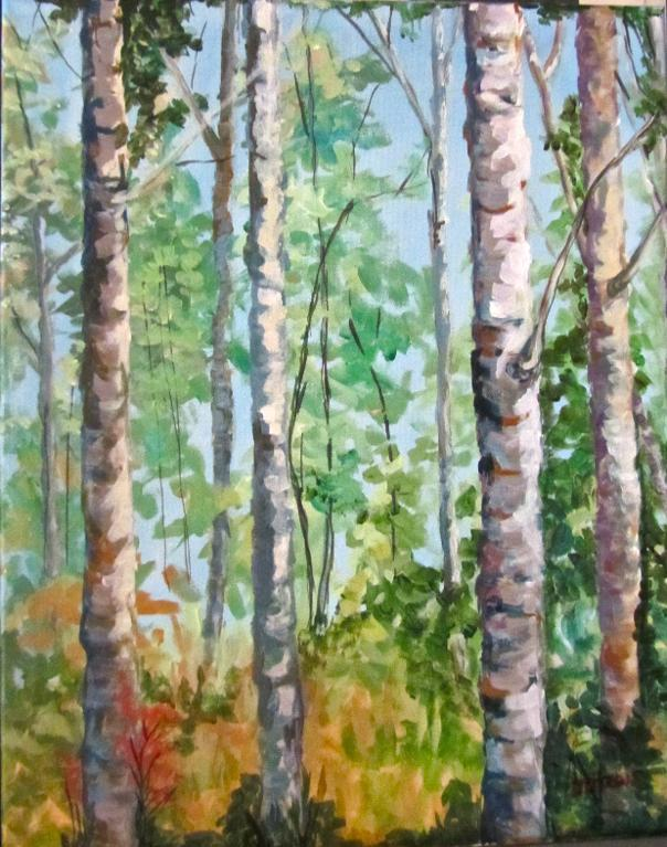 Birch trees on canvas