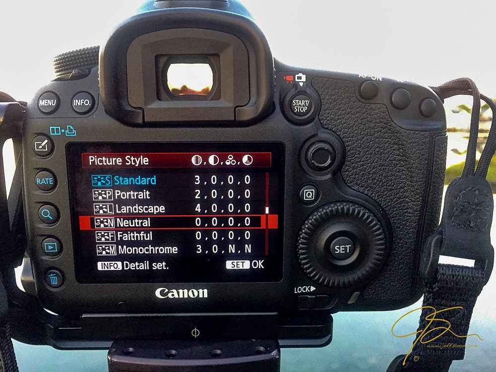 The LCD on a Canon 5D MkIII showing the selection of Picture Styles available.