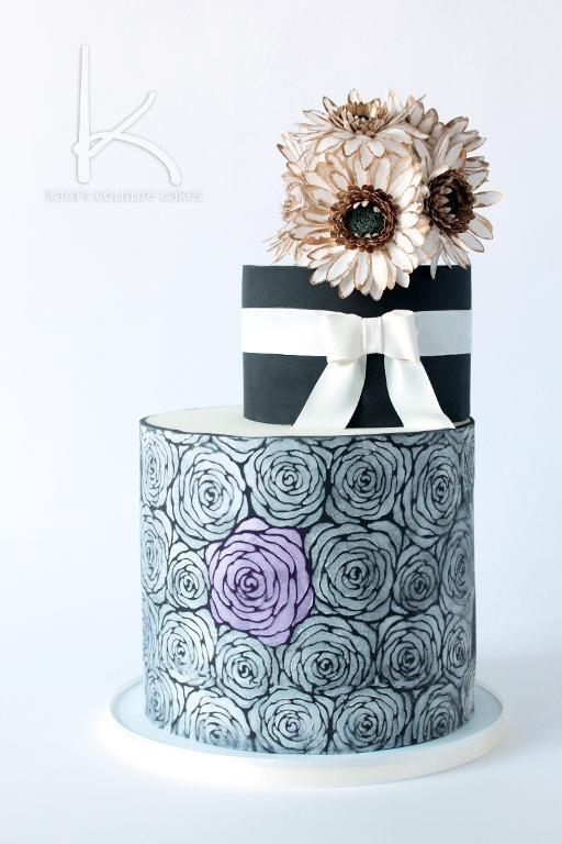Black and White Luster Floral Cake