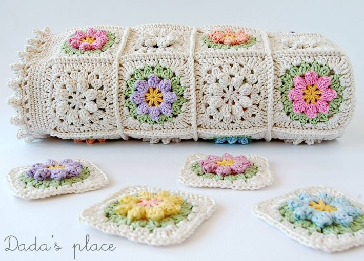 Bright flower granny square baby blanket