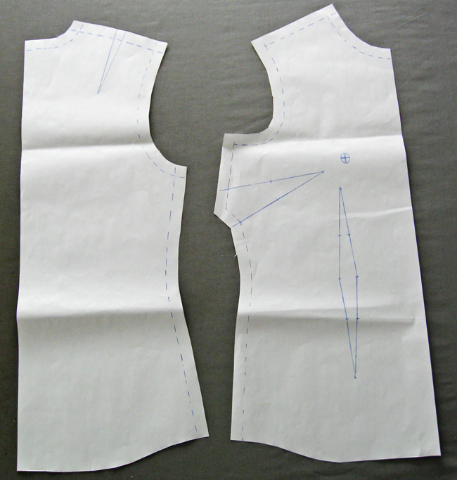 pattern pieces for creating a cowl collar blouse