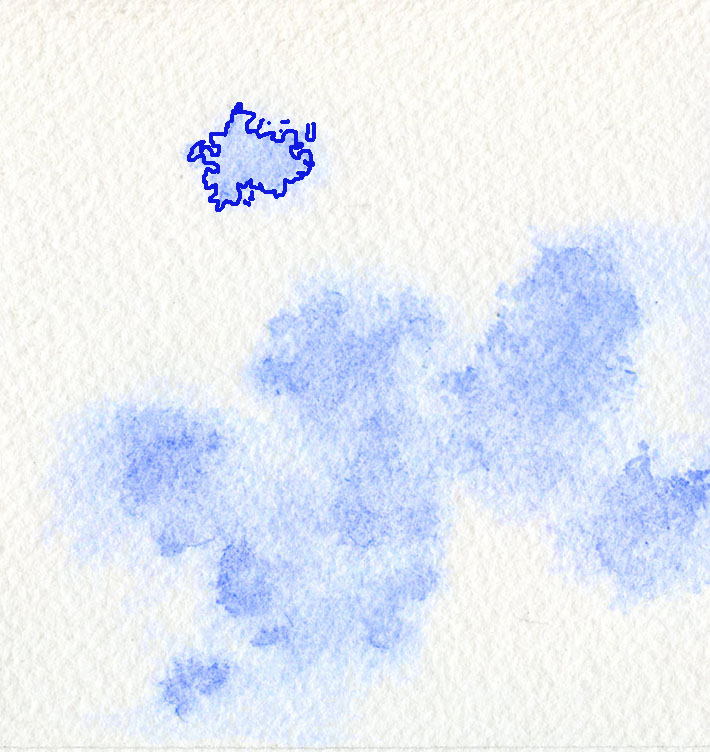 blue sky patch in cloud with watercolor