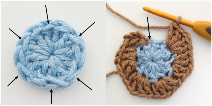 Granny crochet hexagon beginning of round 2