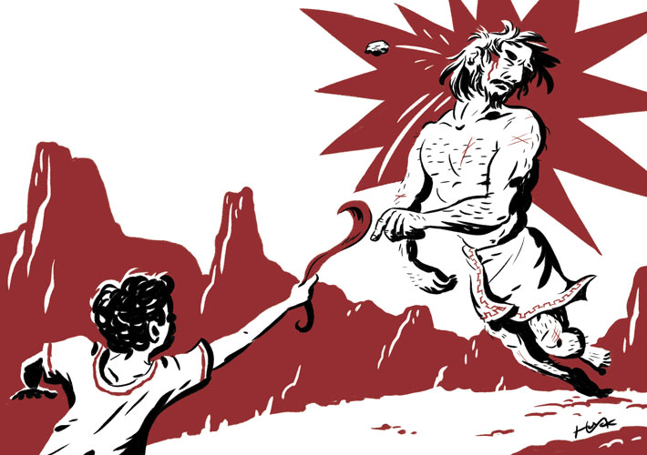 David vs. Goliath: A black and red ink drawing pushes contrast to an extreme to heighten drama