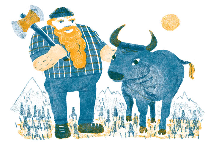 Paul Bunyan and Babe: a lot can be done with just two colors