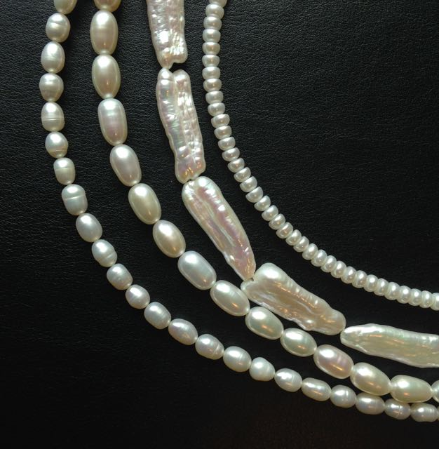 Beautiful strands of unique shaped pearls