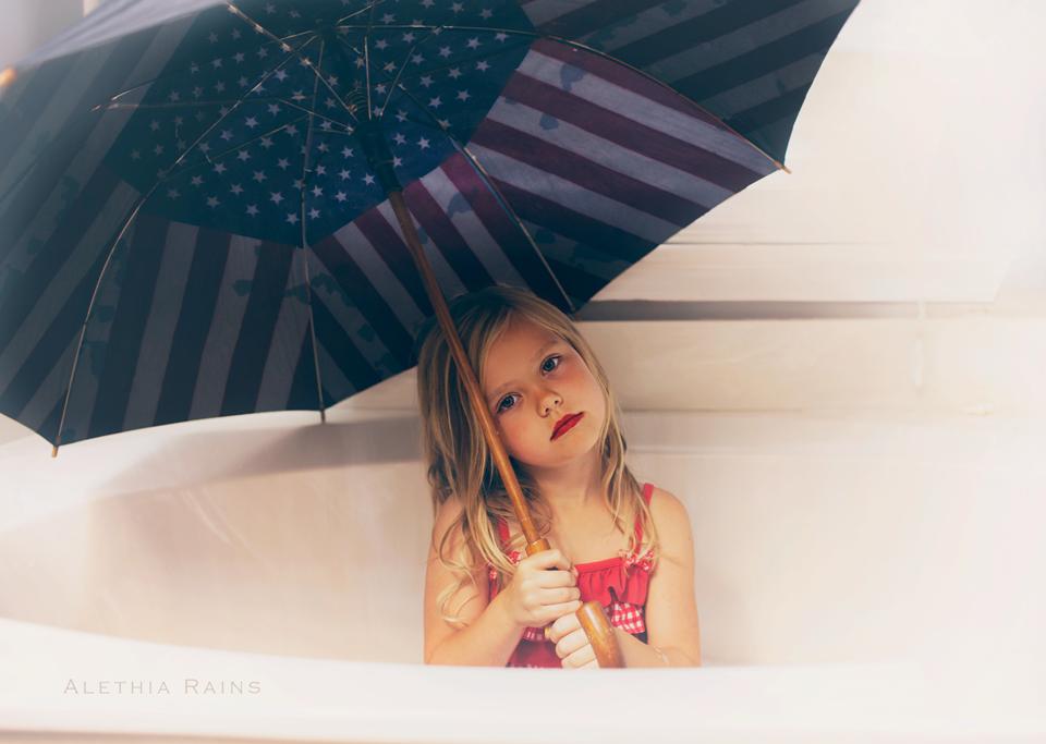flag umbrella girl