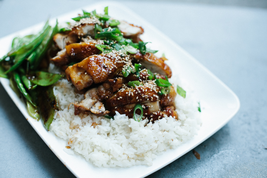 Chicken Teriyaki With Blistered Snow Peas and Rice