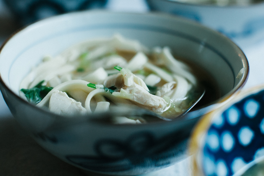 a fragrant soup with soy and lime