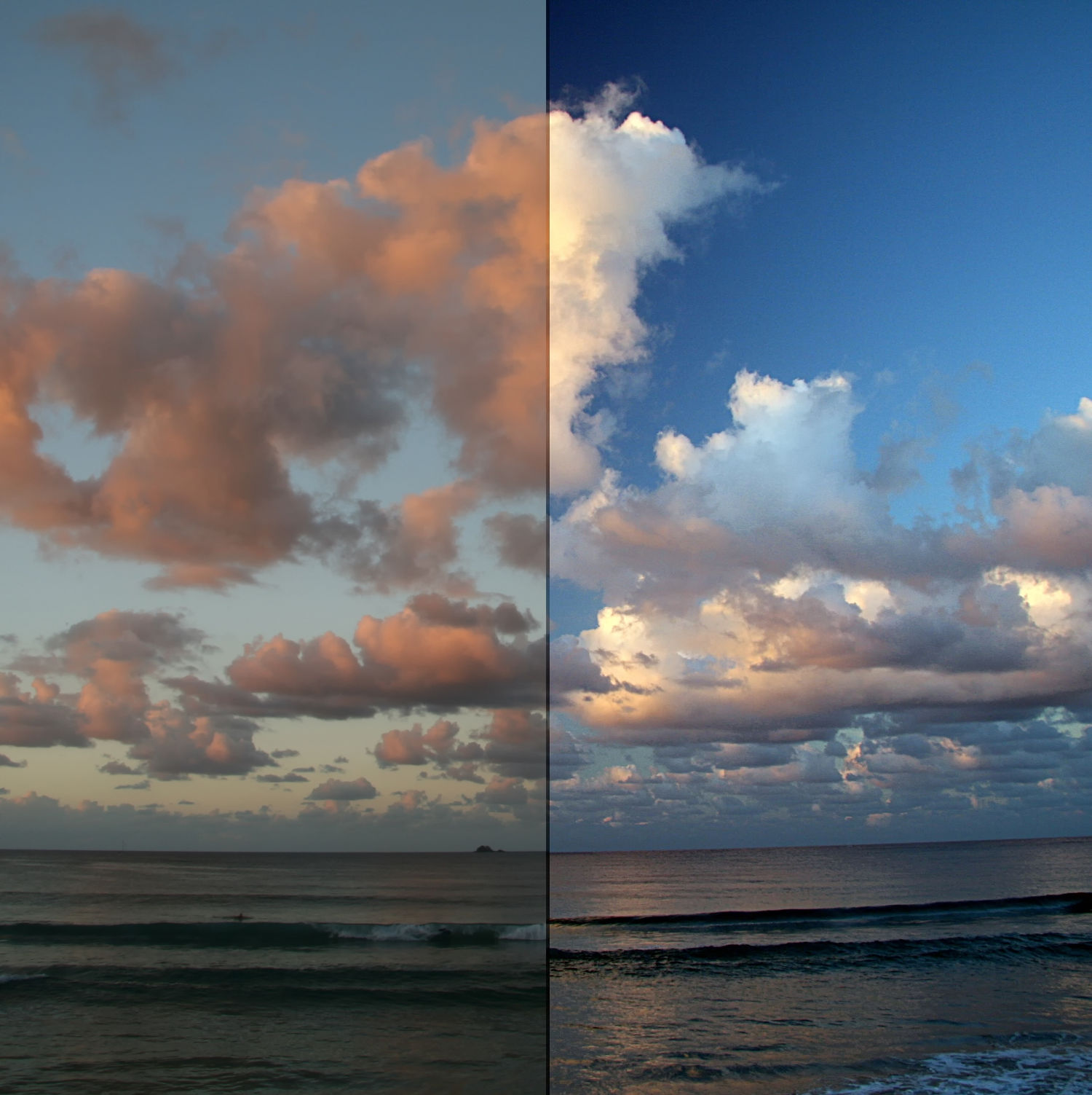 Landscape photography equipment - Polarised image on right normal on left