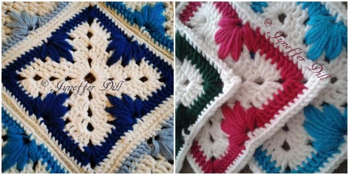 Leaf stitch granny square pattern