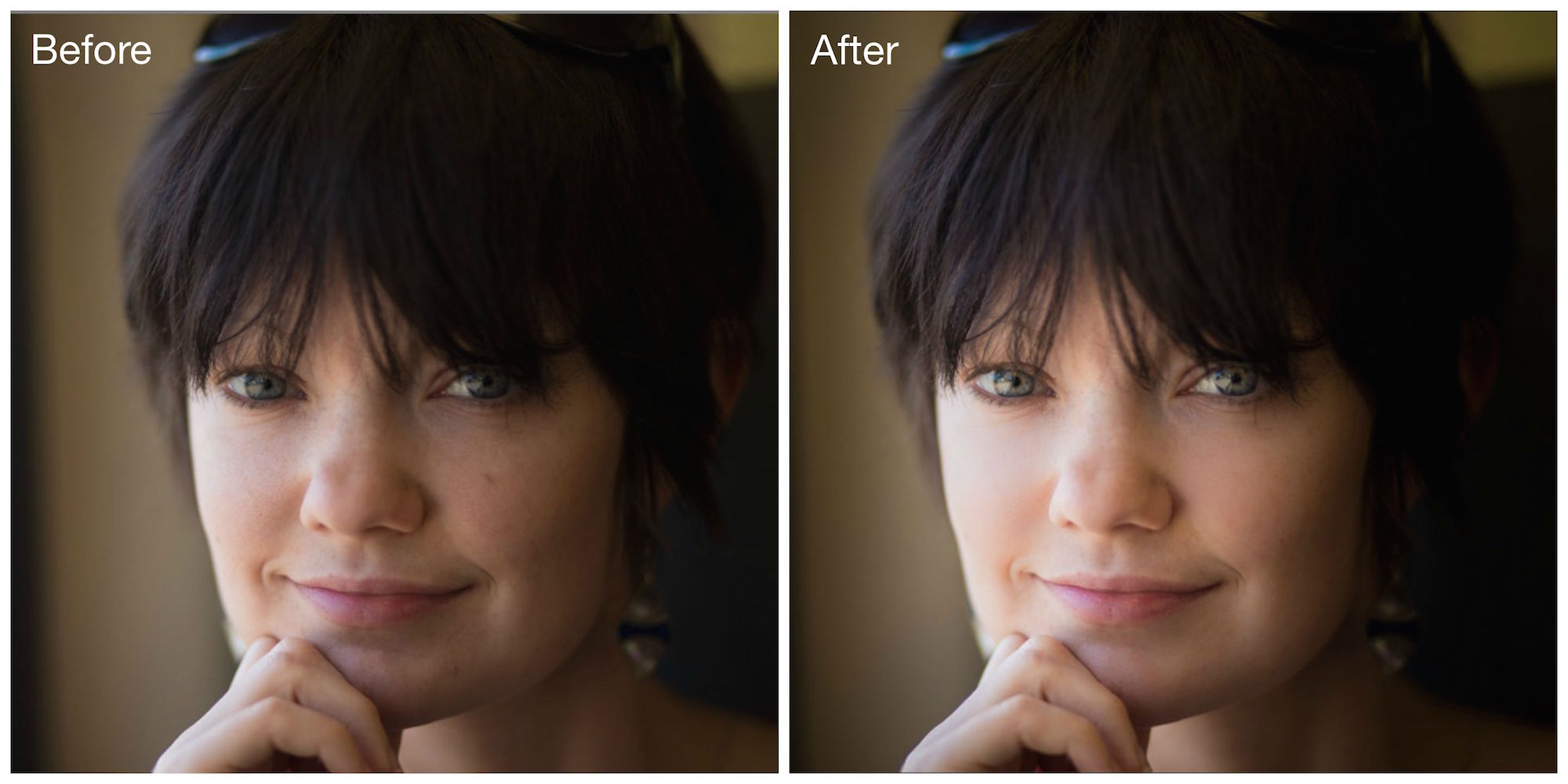 Lightroom Skin Blemish Before and After