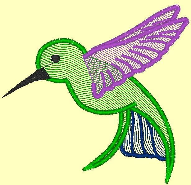 Hummingbird machine embroidery free pattern