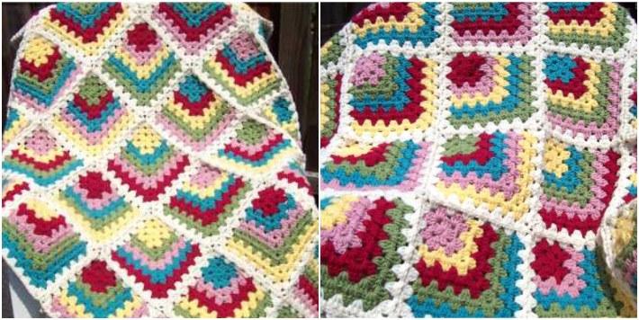 Mitred granny square baby blanket
