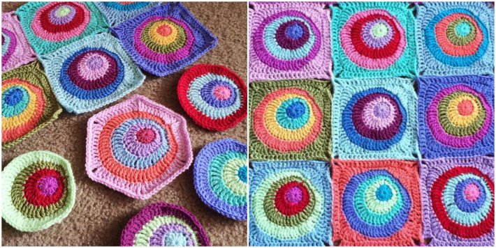Offset circles granny square pattern